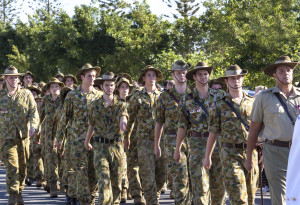 young soldiers marching in Anzac day parade