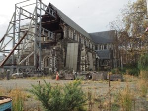 Christchurch Cathedral showing earthquake damage
